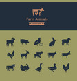 set meat animals icons with animals in profile vector image vector image