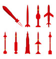 set military missile on white background vector image vector image