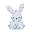 sitting sweet blue bunny toy or doll for easter vector image