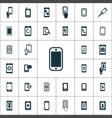 smartphone icons universal set for web and ui vector image vector image