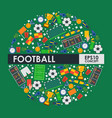 soccer icons in round frame composition vector image