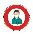 sticker circular border with silhouette male nurse vector image