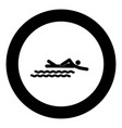 swimming person stick icon black color in circle vector image vector image