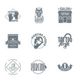 tattooing logo set simple style vector image
