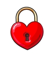 Traditional red heart shaped padlock for love lock vector image vector image