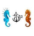 two seahorses and a calligraphic inscription with vector image