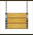 wooden sign hanging on metal chain vector image vector image