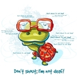 Cartoon smiling green turtle character vector image