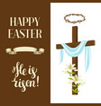 wooden cross with shroud lily crown of thorns vector image
