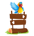 a colorful bird and signboard vector image