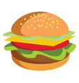 a freshly made burger with cheese tomato and vector image