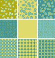 Abstract set of seamless pattern with blue green vector image vector image