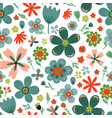amazing floral seamless pattern of flowers vector image vector image