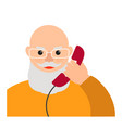 an elderly old man talking on the phone flat vector image