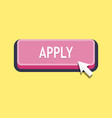 apply button with cursor in flat design vector image vector image