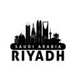 black and white riyadh saudi arabia city skyline vector image