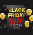 black friday sale banner black and gold balloons vector image vector image