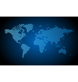 Blue hatched world map vector image vector image
