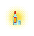 Bottle of vodka and glass icon comics style vector image vector image