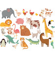 cartoon animals cute elephant and lion giraffe vector image
