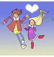 cartoon boy and girl dancing in the sky with cloud vector image vector image