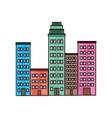 cartoon cityscape cartoon row of various buildings vector image