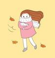 cartoon cute autumn woman and cat vector image vector image