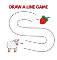 cartoon sheep draw a line game for kids vector image vector image