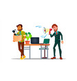 character leaving workplace after dismissal vector image vector image