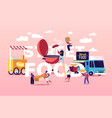 characters buying street food concept tiny people vector image
