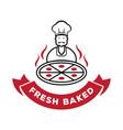 chef serve fresh baked pizza logo vector image