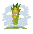 colorful background with cartoon corn with green vector image