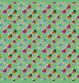 colorful sunglasses seamless pattern on green vector image vector image