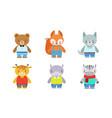 cute baanimals set bear fox wolf giraffe vector image vector image