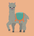 cute fluffy alpaca on an orange background image vector image vector image