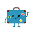 cute happy smiling vintage old suitcase vector image vector image