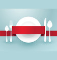 cutlery with ribbon over plate vector image