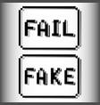 fail and fake pixel stamp old video game design vector image vector image
