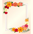 frame template with colorful flowers and leaves vector image vector image