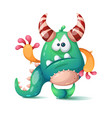 funny cute cartoon monster dino vector image vector image
