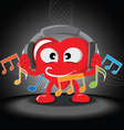 funny heart listening music vector image vector image