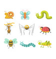 funny insects with cheerful facesisolated vector image