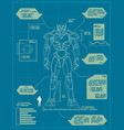 giant robot blueprint vector image