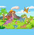 group funny dinosaurs in jungle vector image vector image