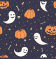 Halloween repeat pattern with pumpkins ghosts
