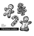 hand drawn sketch christmas cookies tree man vector image vector image