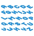 Isometric 3D font of plastic blue cubes vector image vector image