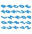 isometric 3d font plastic blue cubes vector image