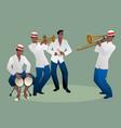 latin band four latin musicians playing bongos vector image