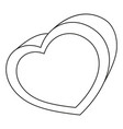 line art black and white heart box vector image vector image